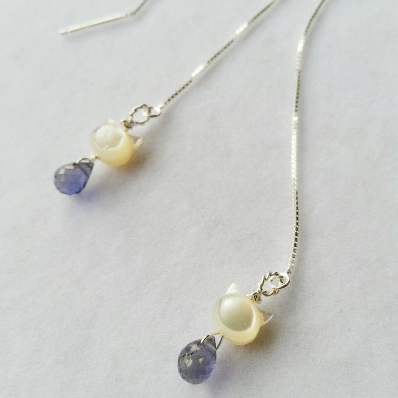 925 silver earline with mother pearl and cordierite925纯银耳线 (贝母猫头,堇青石)