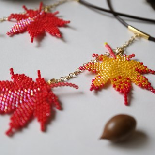 Iroha autumn leaves necklace red / red yellow