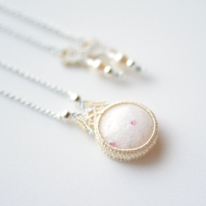 Spinel in Marble / Silk Macrame Necklace