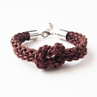 Chocolate brown braided-knot bracelet