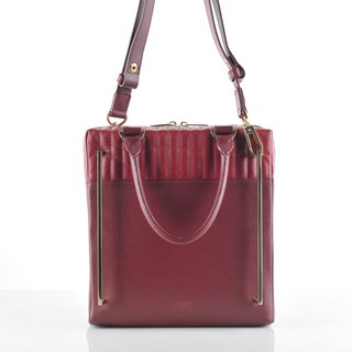 Liam bag in sangria and plum leather with gold hardware