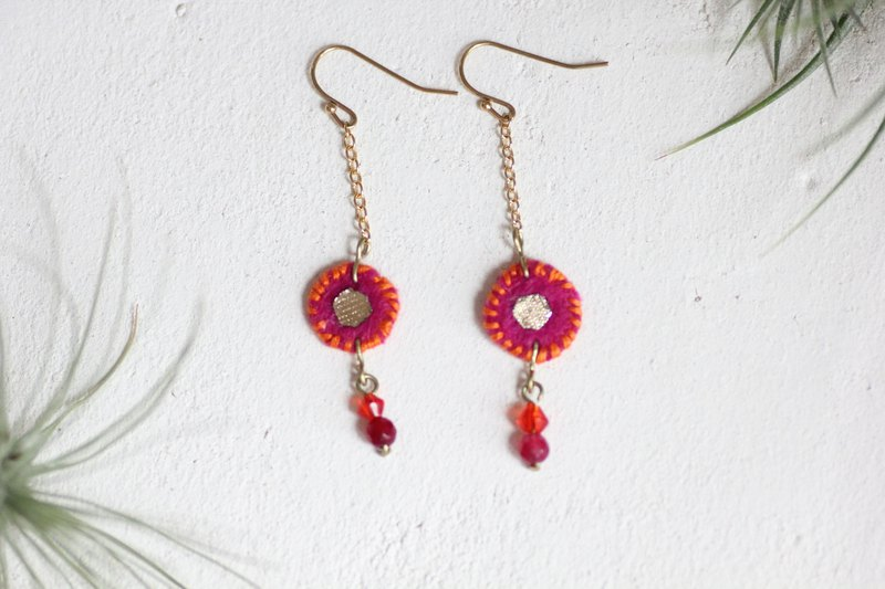 Baraka earrings - tiny vivid pink motifs with gold chain