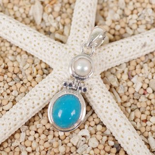 Sleeping Beauty Turquoise and Freshwater Pearl Pendant Top