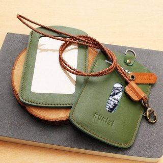ID case/ Key card case/ Card case - ID 1 -- Olive Green+Tan Lanyard(Cow Leather)