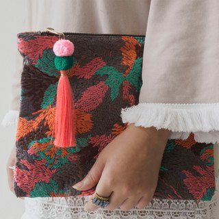 Chiang Mai  Handmade Clutch bag With Pom Pom Chain