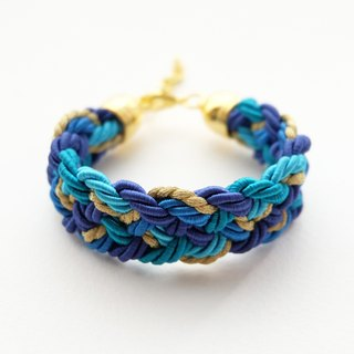 Blue tone and gold rope braided bracelet