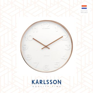 Karlsson wall clock Mr.White numbers w.copper case