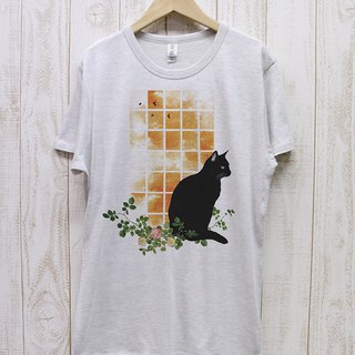 Standing black cat window side SUNSET (Heather white) / RPT 035 - HWH