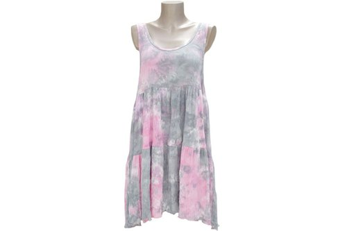 Cute uneven dyed tank top tiered beach dress <Pink Gray>