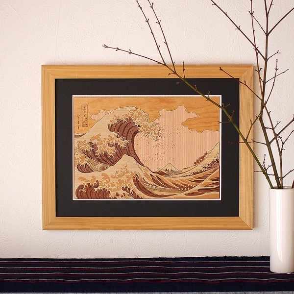 Wooden Art KIHARIE The Great Wave Off Kanagawa Thirty-six Views of Mount Fuji