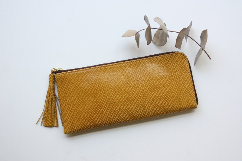 Pigskin slim and light wallet yellow