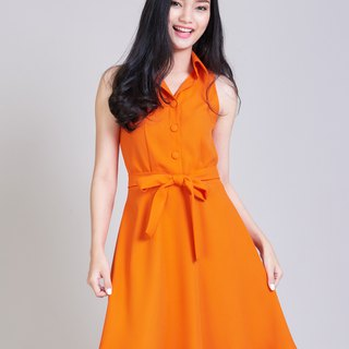 Retro Party Dress Orange Dress work Dresses Vintage Modern Tangerine Dress