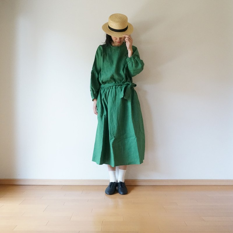 Linen waist gather one-piece GREEN