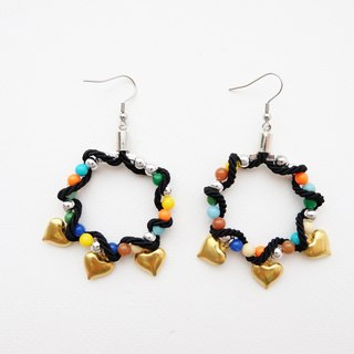 Black rope circle earrings with colorful beads and brass hearts