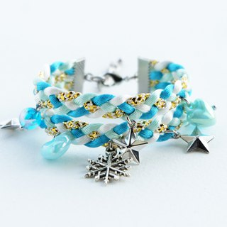 Blue braid double-layered bracelet with snowflake star and heart charms