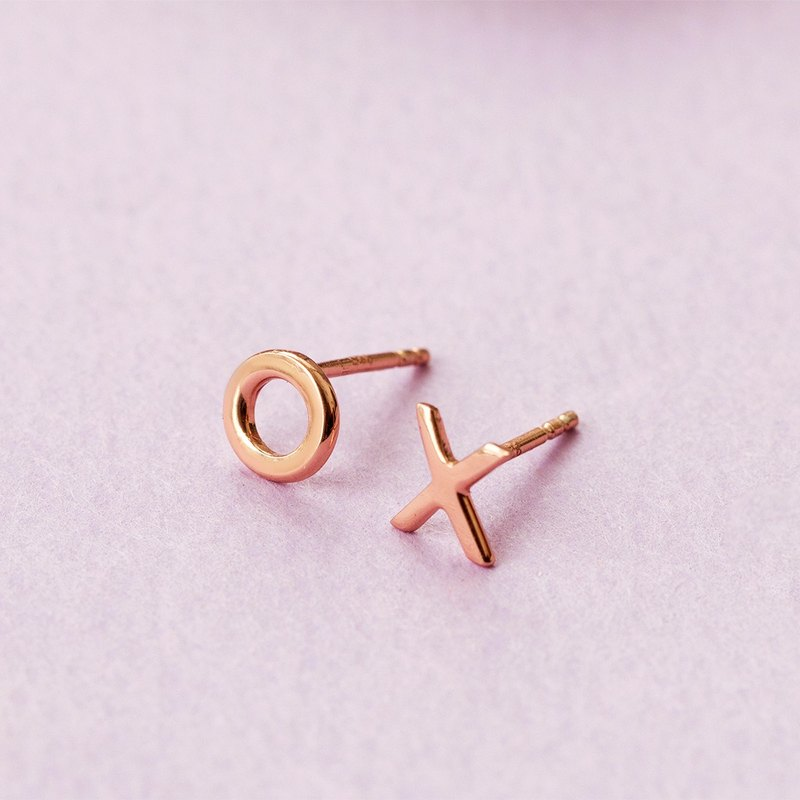 Love & Kisses Ear Studs in Brass with Rose gold plating