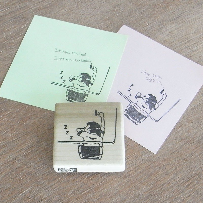 "Handmade rubber stamp ""Sleeping girl"""