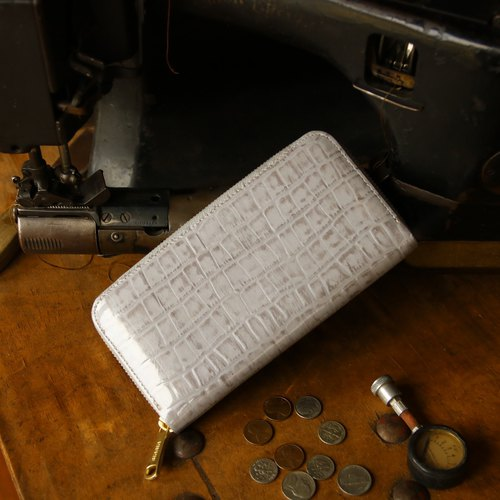 Japan manufactured cowhide packing gray made in JAPAN handmade leather wallet