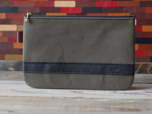 Canvas × Nume leather pouch (L)