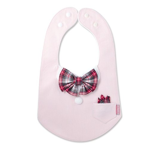 bib-bab Baby Bib Formal Type Pink (Red White Tartan Ribbon)