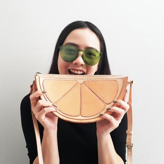 Lemon Cross Body Bag / Lemon Veg Tan Leather Purse