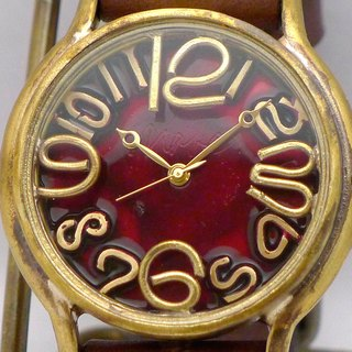 "Hand made watch Hand Craft Watch Coler Dial ""JB 2"" JUMBO Brass color dial RD / BR [JUM 31 B RD / BR]"