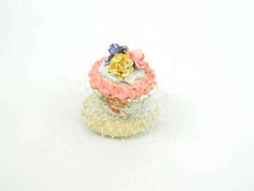 Fascinator Headpiece with Vintage Shabby Chic Rose Cupcake and Veil - Birthday Party Hat