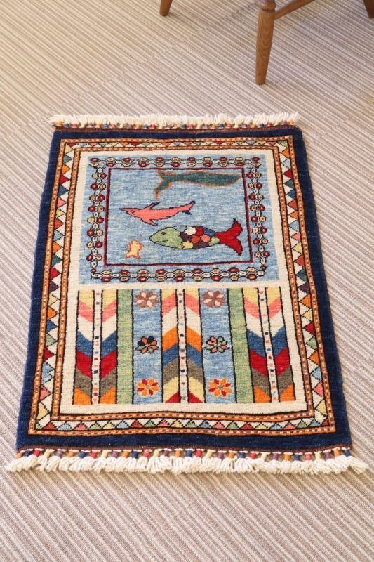 Hand-woven Turkish carpet wool handmade rug fish & squid & whale pattern 85 x 61 cm