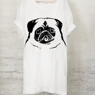 Pug T-shirt Pug T-shirt (White / Gray) 【DOG】