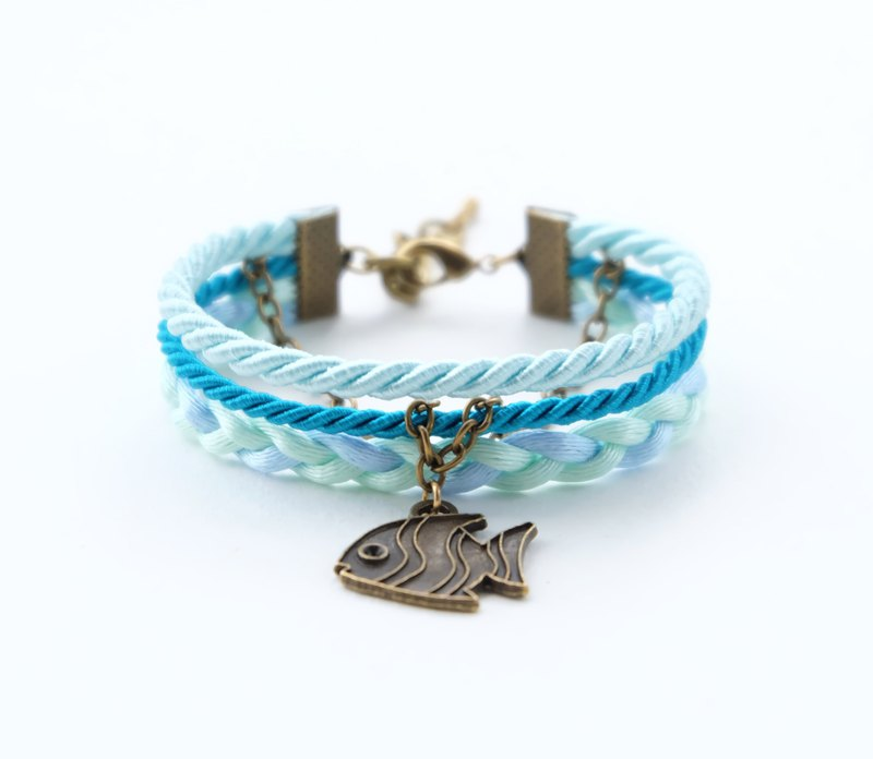 Fish layered rope bracelet in Icy aqua / peacock blue / light mint / sky blue