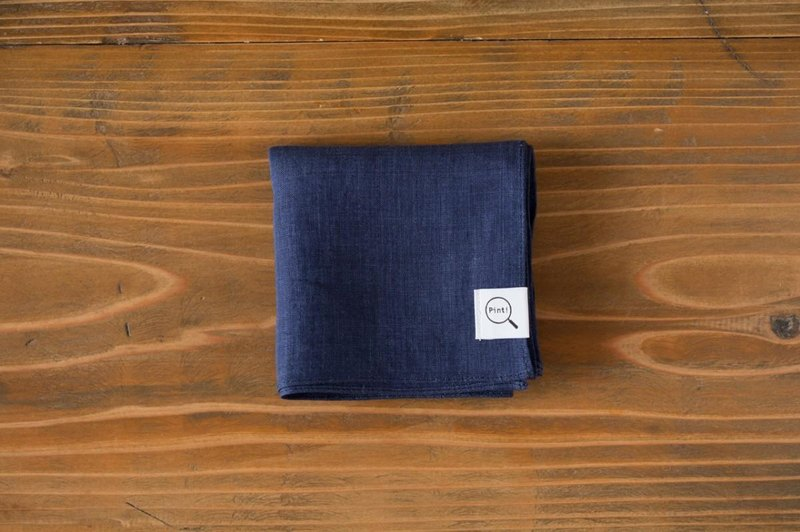 [Stock as long as SALE] linen handkerchief navy