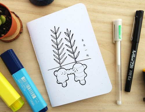 Ginger Together Small Notebook, A6 size (Homegarden series)