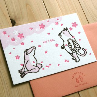 A letter greeting card looking at cherry blossoms