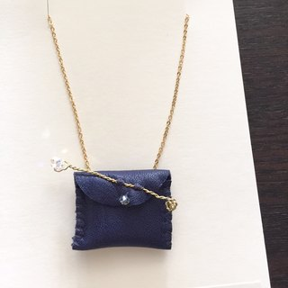 [ Bluesy Mod ] --- Leather Purse necklace (sparkle / dark blue ) . 皮革小钱包项链 (深蓝色)