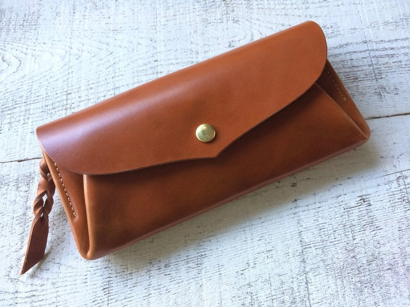 JAPAN leather card 12 long wallet series-envelope orange brown