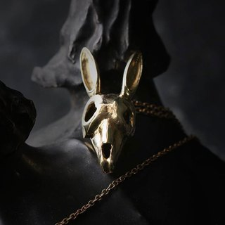 Rabbit Skull Charm Necklace by Defy / Bunny Skull Charm Brass Pendant Necklace Jewelry.