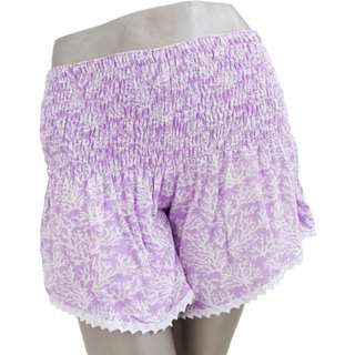 Summer Girl! Coral print shorts <Lavender>
