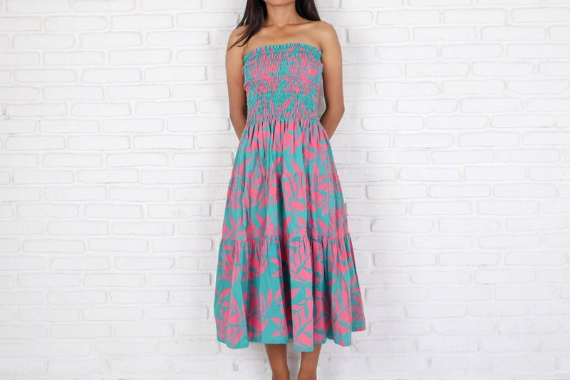 Batik Dyeing Reef Pattern Tiered One Piece Dress Turquoise Pink
