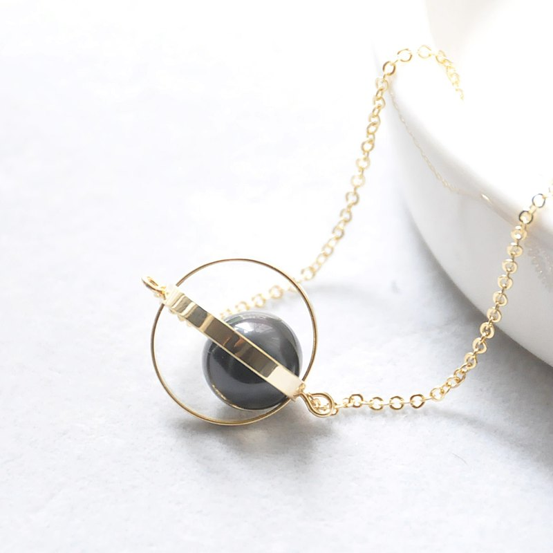 守护星球。宇宙。金环。黑曜石。项链 Guardian Planet。Galaxy。Golden Ring。Obsidian。Necklace。生日礼物。闺蜜礼物。姐妹礼物