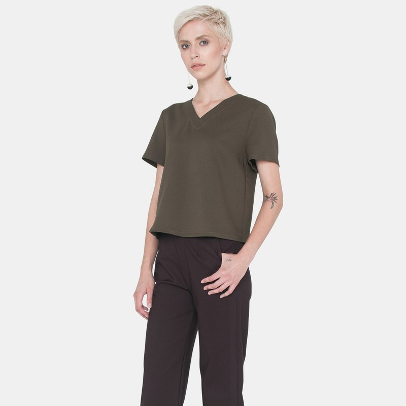 Back Slit Shirt with Pleat (Olive)