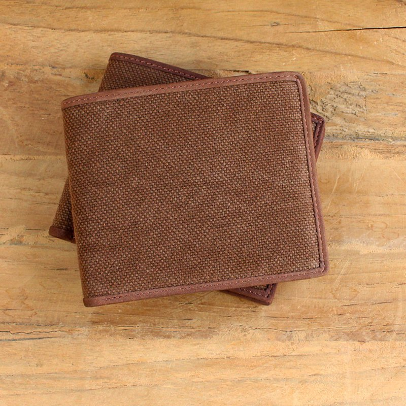 Leather Wallet - Bifold Canvas - Brown (Canvas & Cow Leather) / Small Wallet