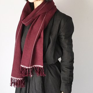"Unisex hand-woven scarf ""Wine red with Pink lines"""