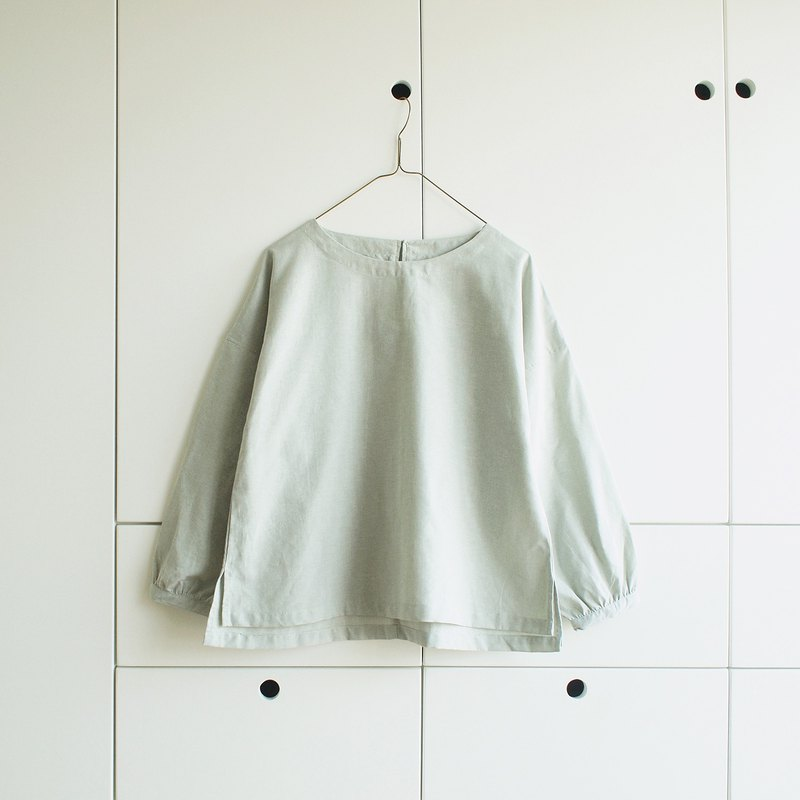 puff sleeve cotton blouse : mint