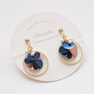 【14kgf】 sequin hoop earring navy