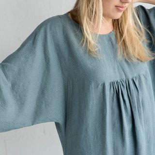 Linen Dress Motumo - 17S1 / Handmade loose linen summer dress