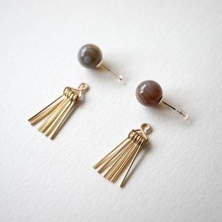 Agate & fringe pierce Agate 14kgf 2way earrings