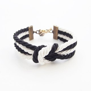 Black/white double knot bracelet