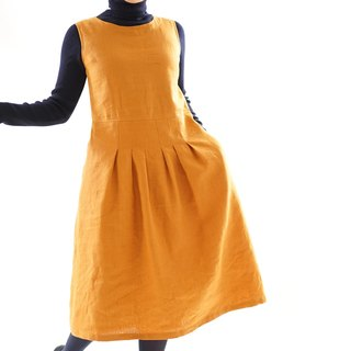 Warm linen lined interior sleeveless stitch tack dress, zipper specification / Murisier / a 62 - 9