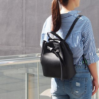Tye Leather Backpack in Black