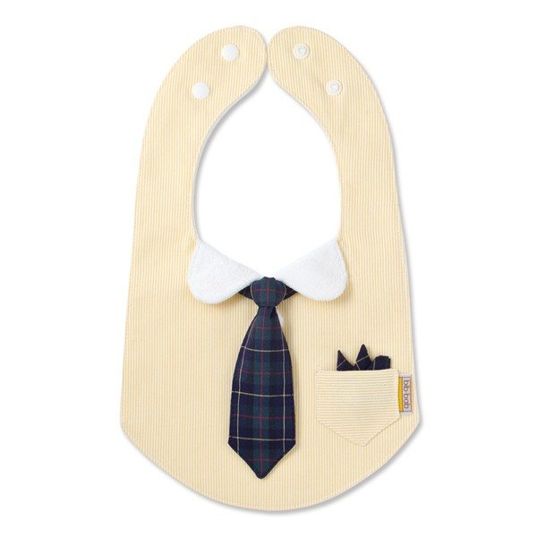 bib-bab Baby Bib Formal Type Yellow (Green Tartan Tie)